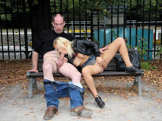 Nymph rides boner on park bench.